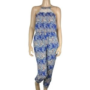Lucca Couture Blue White Maxi Jumpsuit Romper